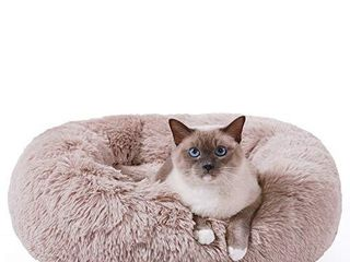 HACHIKITTY Calming Cat Bed Machine Washable  Cat beds Indoor Cats large  Flush Faux Fur Donut Cat Bed
