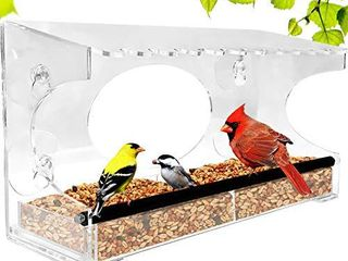 Nature Gear Xl Window Bird Feeder   Extended Roof   Steel Perch   Sliding Feed Tray Drains Water   See Wild Birds like Finches  Cardinals and Chickadees Up Close