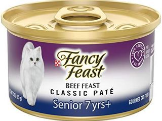 Purina Fancy Feast High Protein Senior Pate Wet Cat Food  Beef Feast Senior 7     24  3 oz  Cans