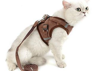 SElMAI Mesh Harness for Cats No Pull No Choke Escape Proof Padded Vest for Puppy Small Dogs leash lead for Kitten Walking Jacket Adjustable Training Collar Corduroy Soft Material Brown l