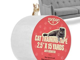 Ronton Cat Scratch Deterrent Tape   Anti Scratch Tape for Cats   100  Transparent Clear Double Sided Training Tape   Pet   Kid Safe   Furniture  Couch  Door Protector  2 5  x 15 Yards Roll