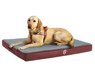 Utotol Orthopedic Dog Bed for Small Medium large Jumbo Dogs  Memory Foam Pet Bed Mattress with Removable Washable Cover  2 layer Pet Mat with Waterproof lining Dog beds Claret red