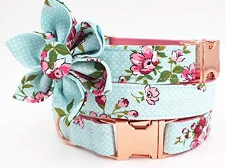 Free Sunday Cute Dog Collar  Girl Dog Collar with Blue Floral Design Adjustable with Rose Gold Slide Release Buckle  New Puppy Gifts  M