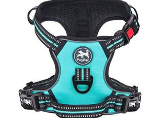 PoyPet No Pull Dog Harness   Release on Neck  Reflective Adjustable No Choke Pet Vest with Front   Back 2 leash Attachments  Mint Blue XS
