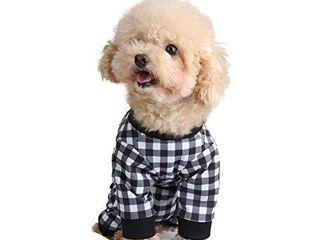 Etdane Small Dog Onesies Surgical Recovery Suit Abdominal Wounds Protector Post Operative Shirt Pet E Collar Alternative Vest for Home Outdoor Black White Plaid large