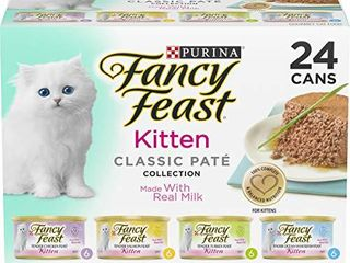 Purina Fancy Feast Grain Free Pate Wet Kitten Food Variety Pack  Kitten Classic Pate Collection  4 flavors    24  3 oz  Boxes
