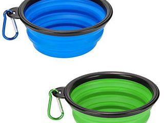 Emoly 2 Pack large Size Collapsible Dog Bowl  Food Grade Silicone BPA Free  with Carabiner Clip Foldable Expandable Cup Dish for Pet Cat Food Water Feeding Portable Travel Bowl  Blue   Green