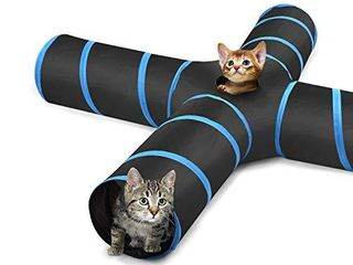 Pawaboo Cat Toys  Cat Tunnel Tube 4 Way Tunnels Extensible Collapsible Cat Play Tent Interactive Toy Maze Cat House with Balls and Bells for Cat Kitten Kitty Rabbit Small Animal  Black   light Blue