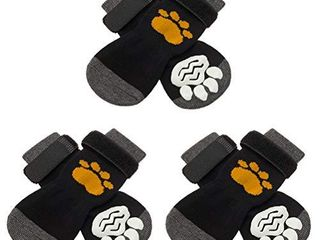 SCIROKKO 3 Pairs Anti Slip Dog Socks with Golden Paw Pattern   Pet Adjustable Paw Protection for Puppy Indoor Traction Wear on Hardwood Floor