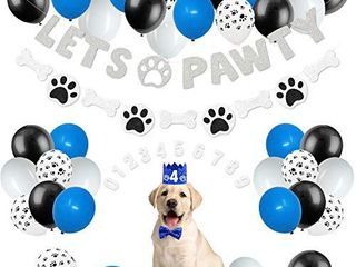 44 Pack lets Pawty Puppy Boys Birthday Favors Pet Adoption Party Supplies Kits Silver Glitter Banner Paws Print Balloons Blue Hat Bow Tie Doggie Bone Photo Props Ideas Woof Ruff Decoration