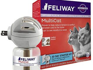 Feliway MultiCat Calming Diffuser Kit  30 Day Starter Kit  Vet Recommended  Reduce Fighting and Conflict Among Cats