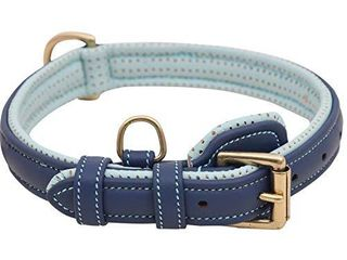 PawFurEver Faux leather Dog Collar for Dogs   Padded   Elegant Design   Heavy Duty   Keeps Your Dog Comfortable  Navy  Medium