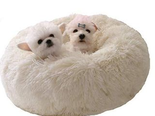 BODISEINT Modern Soft Plush Round Pet Bed for Cats or Small Dogs  Mini Medium Sized Dog Cat Bed Self Warming Autumn Winter Indoor Snooze Sleeping Cozy Kitty Teddy Kennel  M 23 6Dx7 9 H  White