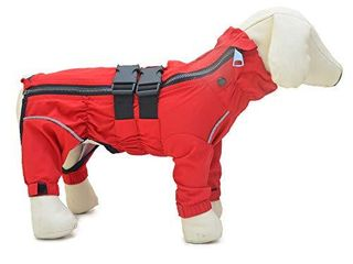 Dogs Waterproof Jacket  lightweight Waterproof Jacket Reflective Safety Dog Raincoat Windproof Snow Proof Dog Vest for Small Medium large Dogs Red Xl