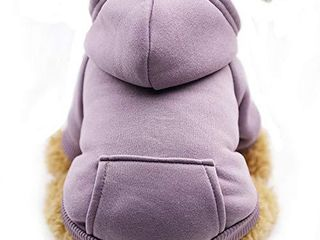 Fashion Focus On New Winter Dog Hoodie Sweaters with Pockets Cotton Warm Dog Clothes for Small Dogs Chihuahua Coat Clothing Puppy cat Custume  Purple  Small