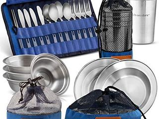 Wealers Unique Complete Messware Kit Polished Stainless Steel Dishes Set  Tableware  Dinnerware  Camping  Buffet  Includes   Cups   Plates  Bowls  Cutlery  Comes in Mesh Bags  4 Person Set   Blue