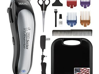 Wahl lithium Ion Pro Series Cordless Animal Clippers Rechargeable  Quiet  low Noise  Heavy Duty  Electric Dog   Cat Grooming Kit for Small   large Breeds with Thick to Heavy Coats Model 9766 Black and Silver