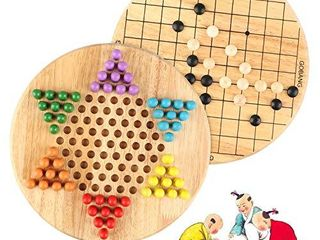 Wondertoys 2 in 1 Chinese Checkers   Gobang  Five in a Row  Wooden Board Game for Family