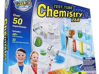 WIlD  Science   WS90Xl Test Tube Chemistry lab   50  Fun Experiments and Reactions for Kids Aged 8    Explore STEM   learn About Solids  liquids  Gases and More