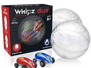 USA Toyz Whipz Duo Micro Racers Toy Cars for Kids  2pk Mini Keychain Cars  Glow in the Dark lED High Speed Pocket Racers Fidget Toys  2 Mini Cars with 2 Racing Stunt Balls  2 Clips  and 2 USB Chargers