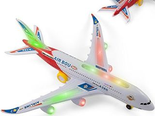 Bump and Go Airplane Toy   Kidsthrill Air BOU A380 Plane w  Jet lights and Sounds    Colors May Vary