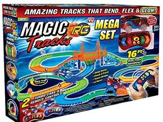 Ontel Magic Tracks Mega RC with 2 Remote Control Turbo Race Cars and 16 ft of Flexible  Bendable Glow in the Dark Racetrack  As Seen on TV