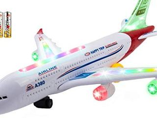 Toysery Airplane Toys for Kids  Bump and Go Action Airbus A380 Model Airplane Toy for Boys and Girls with Flashing light Up  Real Jet Sound Battery Powered Electric Plane   3 AA Batteries Included