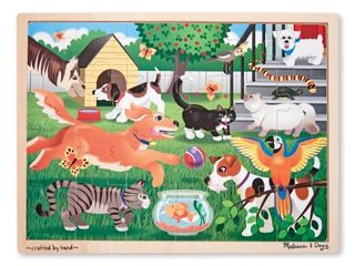 Melissa   Doug Pets at Play Wooden Jigsaw Puzzle With Storage Tray  24 pcs