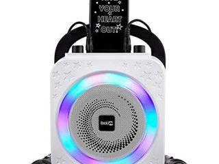 RockJam Party Karaoke Machine With Bluetooth  10Watt Speaker   Two Microphones  Black  10 Watt  RJPS150 BK