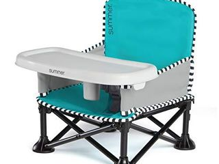 Summer Pop n Sit SE Booster Chair  Sweet life Edition  Aqua Sugar Color Booster Seat for Indoor Outdoor Use Fast  Easy and Compact Fold