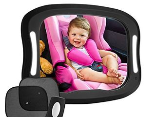 FITNATE lED Baby Car Mirror  Safety Infant in Backseat 360Adjustable light Up Mirror for Baby Rear with Best Newborn Secure 4 Sturdy Strips Remote Control and 2 Car Sun Visors