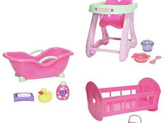 JC Toys Deluxe Doll Accessory Bundle   High Chair  Crib  Bath and Extra Accessories for Dolls up to 11    Fits 11  la Baby   Other Similar Sized Dolls  Pink  81453
