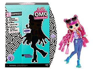 l O l  Surprise  O M G  Series 3 Roller Chick Fashion Doll with 20 Surprises