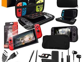 Switch Accessories Bundle   Orzly Essentials Pack for Nintendo switch Case   Screen Protector  Grip Case  Games Holder  Headphones   Classic Black Edition