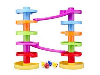 Ball Drop Educational Toy with Bridge   Advanced Spiral Swirl Ball Ramp Activity Playset for Toddlers