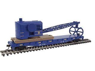 Walthers Trainline HO Scale Model Flatcar with logging Crane   Alaska Railroad 17104  Blue