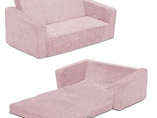 Serta Perfect Sleeper Extra Wide Convertible Sofa to lounger   Comfy 2 in 1 Flip Open Couch Sleeper for Kids  Pink