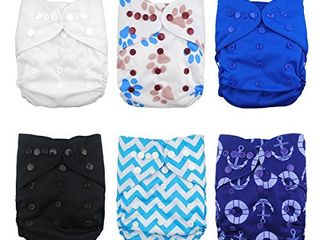 Babygoal Cloth Diaper Cover for Boys Baby Adjustable Reusable Covers for Fitted Diapers and Prefolds  6pcs Baby Clothes Covers One Wet Bag 6DCF02