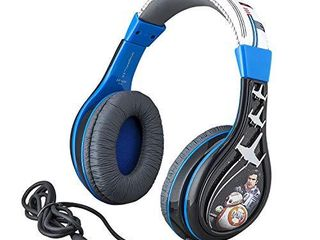 Star Wars Ep 9 Kids Headphones  Adjustable Headband  Stereo Sound  3 5Mm Jack  Wired Headphones for Kids  Tangle Free  Volume Control  Foldable  Childrens Headphones Over Ear for School Home Travel