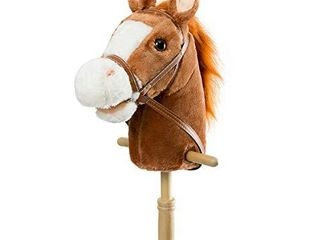 HollyHOME Outdoor Stick Horse with Wood Wheels Real Pony Neighing and Galloping Sounds Plush Toy Dark Brown 36 Inches AA Batteries Required