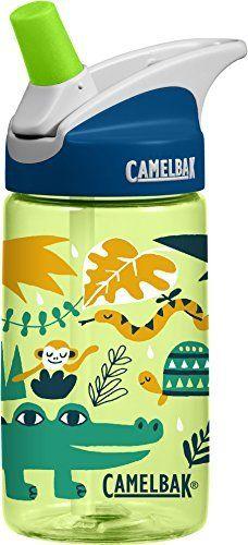 CamelBak Eddy 0 4 liter Kids Water Bottle  CamelBak Kids Big Bite Valve   Spill Proof    Water Bottle For Kids   BPA Free Water Bottle 12 Ounces  Jungle Animals  Bottle Only
