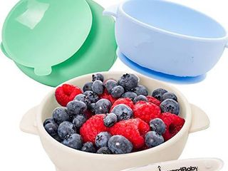 Baby Bowls with Guaranteed Suction   4 Piece Silicone Set with Spoon   UpwardBaby   for Babies Kids Toddlers   BPA Free   First Stage Self Feeding