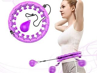 NGC C Weighted Hula Hoop for Adults Beginners do not Fall 24 Knots  Abdomen Fitness Increase Beauty  2 in 1 Fitness Weight loss and Massage  Detachable