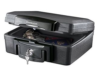 SentrySafe H0100 Fireproof Waterproof Box with Key lock  0 17 Cubic Feet  Black