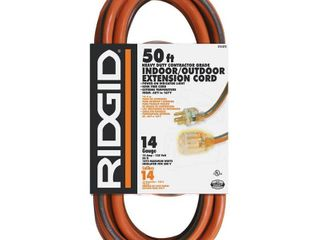RIDGID 50 ft  14 3 Extension Cord  Orange with Grey Stripe