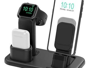Beacoo Upgraded 3 in 1 Charging Stand for iWatch Series 6 5 4 3 2 1  Charging Station Dock Compatible with Airpods Pro 1 2 iPhone Series 12 11 pro Xs X Max XR 8 8Plus 7 6S Charger   Cables Required