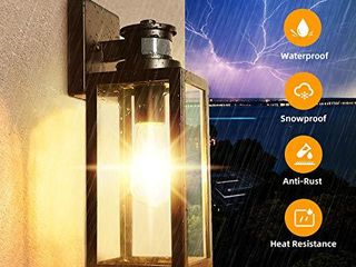 Motion Sensor Outdoor Wall lantern  Dusk to Dawn Photocell Exterior light Fixture Wall Mount 100  Aluminum  Clear Glass  Matte Black Wall Sconce for Porch Doorway Garage  E26 Socket  Motion Activated