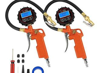 2 Pack Foval Digital Tire Inflator with Pressure Gauge 250 PSI Air Chuck Compressor Accessories with Rubber Hose and Quick Connect Coupler for 0 1 Display Resolution