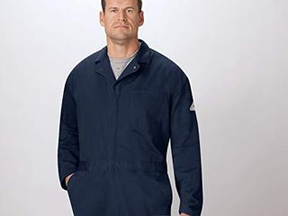 Bulwark FR CEC2NV RG 48 Men s Flame Resistant 9 oz Twill Cotton Classic Coverall with Hemmed Sleeves  Navy  48