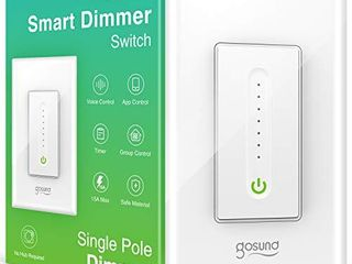 Gosund Smart Dimmer Switch  Smart WiFi light Switch Works with Alexa Google Home  with Remote Control Timer Countdown  Single Pole  Neutral Wire Required  ETl and FCC listed  No Hub Required  1 Pack